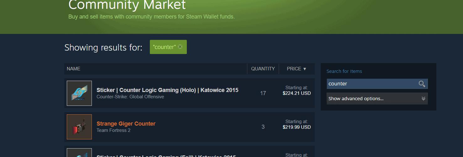 Steam sellable items list