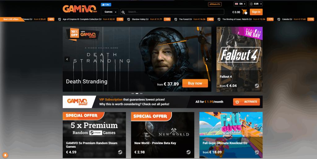 Gamivo website